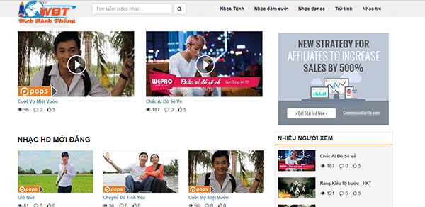 Thiết kế website chia sẻ video online